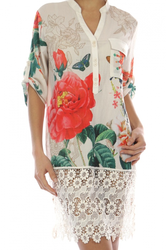 Rose Printed Shirt with lace trim