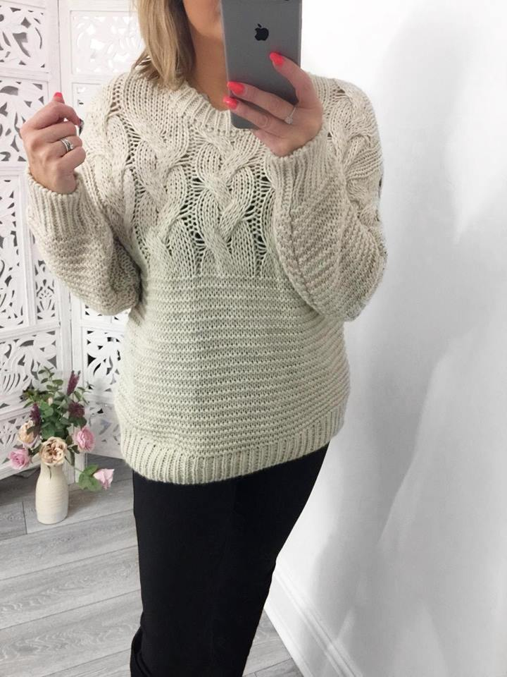 Oatmeal Chunky Knit Jumper - ONE SIZE 8-14