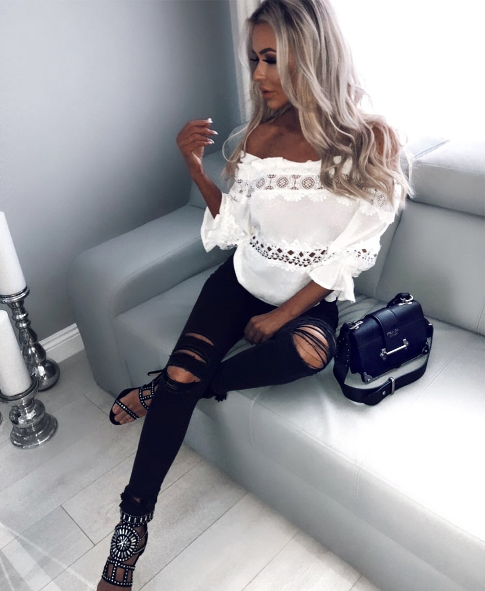 White Cold Shoulder Top - Bloggers Style