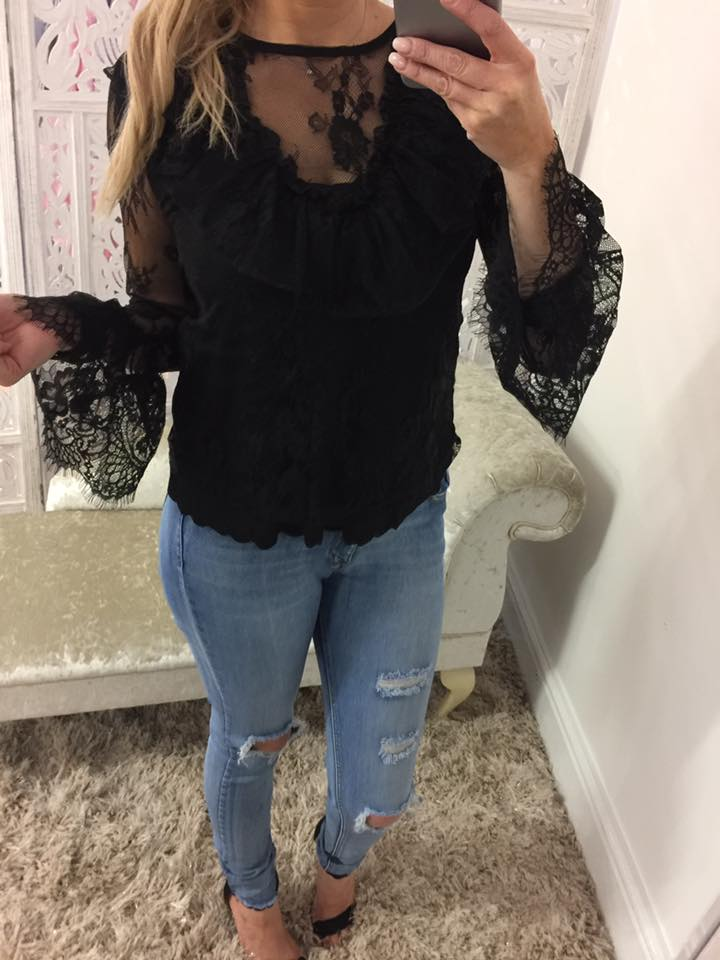 Black Frill Lace & Mesh Bell Sleeved Top